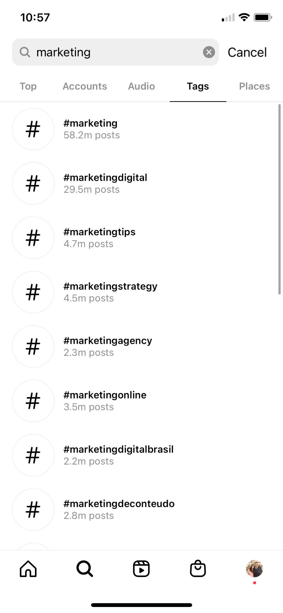 how to find instagram hashtags in search