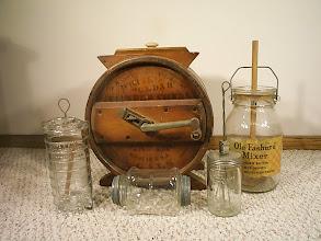 Photo: Old Fashion, Wood Cylinder, Bordens, Double Lid Hand Shaker