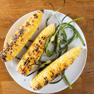 Grilled Corn and Garlic Scape Salad.