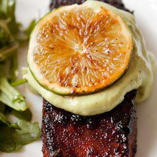 Brown Sugar Chili Rubbed Salmon with Avocado Crema.