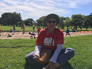 Reclaim the City activist Deena Bosch awaits a 'sod-turning' ceremony after construction tape was used to mark out territory at Rondebosch Golf Club on March 21 2019.