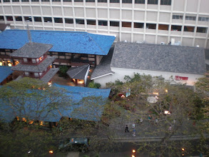 Photo: view looking down at Benihana restaurant from their hotel room