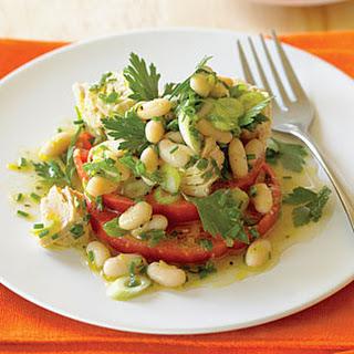 """Tomato """"Bruschetta"""" with Tuna and Cannellini Salad."""