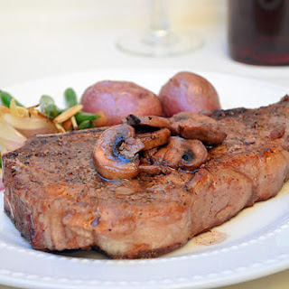 New York Steak with Red Wine Mushrooms