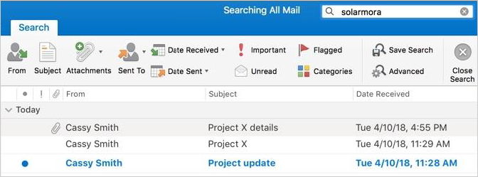 Search mail in 2016 version