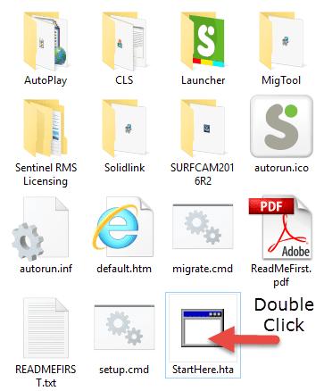 """двойной щелчок в файле """"StartHere.hta"""", чтобы начать процесс установки"""