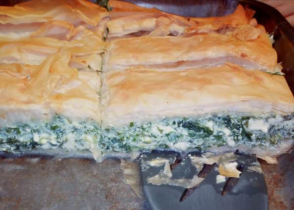 Crunchy Filo Pastry With A Greek Cheese And Greens Filling.
