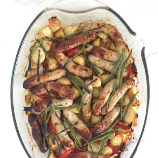Chicken Sausage, Potato, Peppers & Beans Sheet Pan Meal.