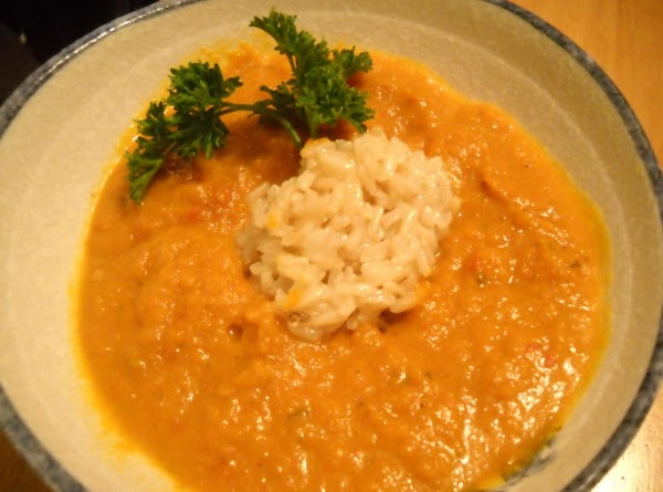 Carrot Puree Soup Over Brown Rice Recipe