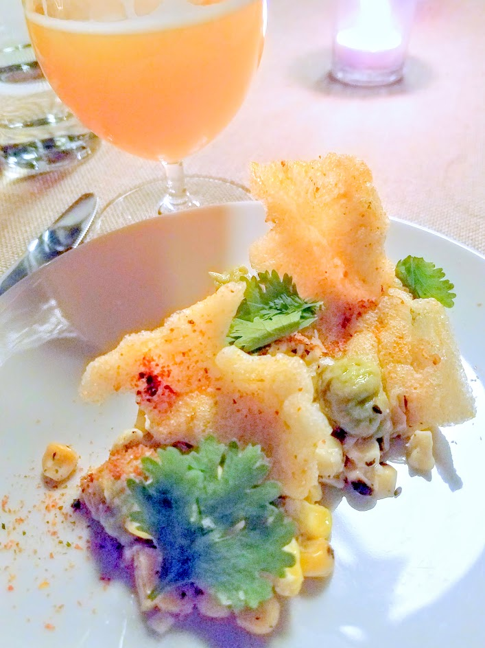 Imperial Session Beer Dinner from September 2016, 5 courses with each course paired with a beer. Course 1 with Grilled corn, Kewpie mayo, sesame cracklin, togarashi paired with Trillium Fort Point (a hopped American Pale Wheat Ale from Massachusetts)