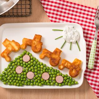 Kartoffelplätzchen-Traktoren am Erbsenhügel