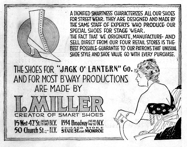 A 1917 ad for I. Miller shoes.