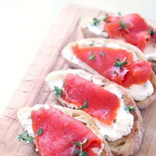 Smoked Salmon and Caper Cream Cheese Toast.