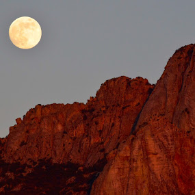 Moon over the Mountain by Jay Hathaway - Landscapes Mountains & Hills ( mountains, moon )