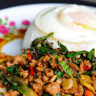 Thai Stir-Fried Pork with Lime and Mint (Traditional Thai).