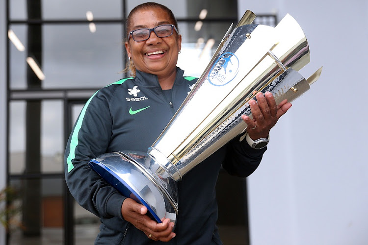 Banyana Banyana coach Desiree Ellis says she is delighted at the quality of players in the country. She holds the Sasol league trophy during her visit to the Daily Dispatch on November 2, 2017. Picture: SIBONGILE NGALWA/DAILY DISPATCH