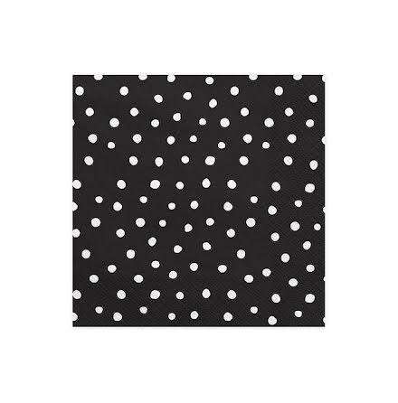 Servetter - Svarta med vita prickar