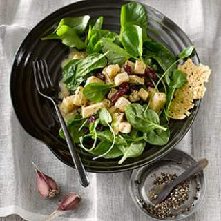 Celeriac, Cress & Spinach Salad with Parmesan Crisps