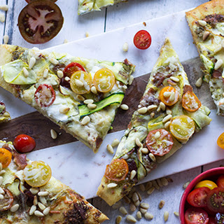 Summer Vegetable and Ricotta Flatbread with Pesto Recipe