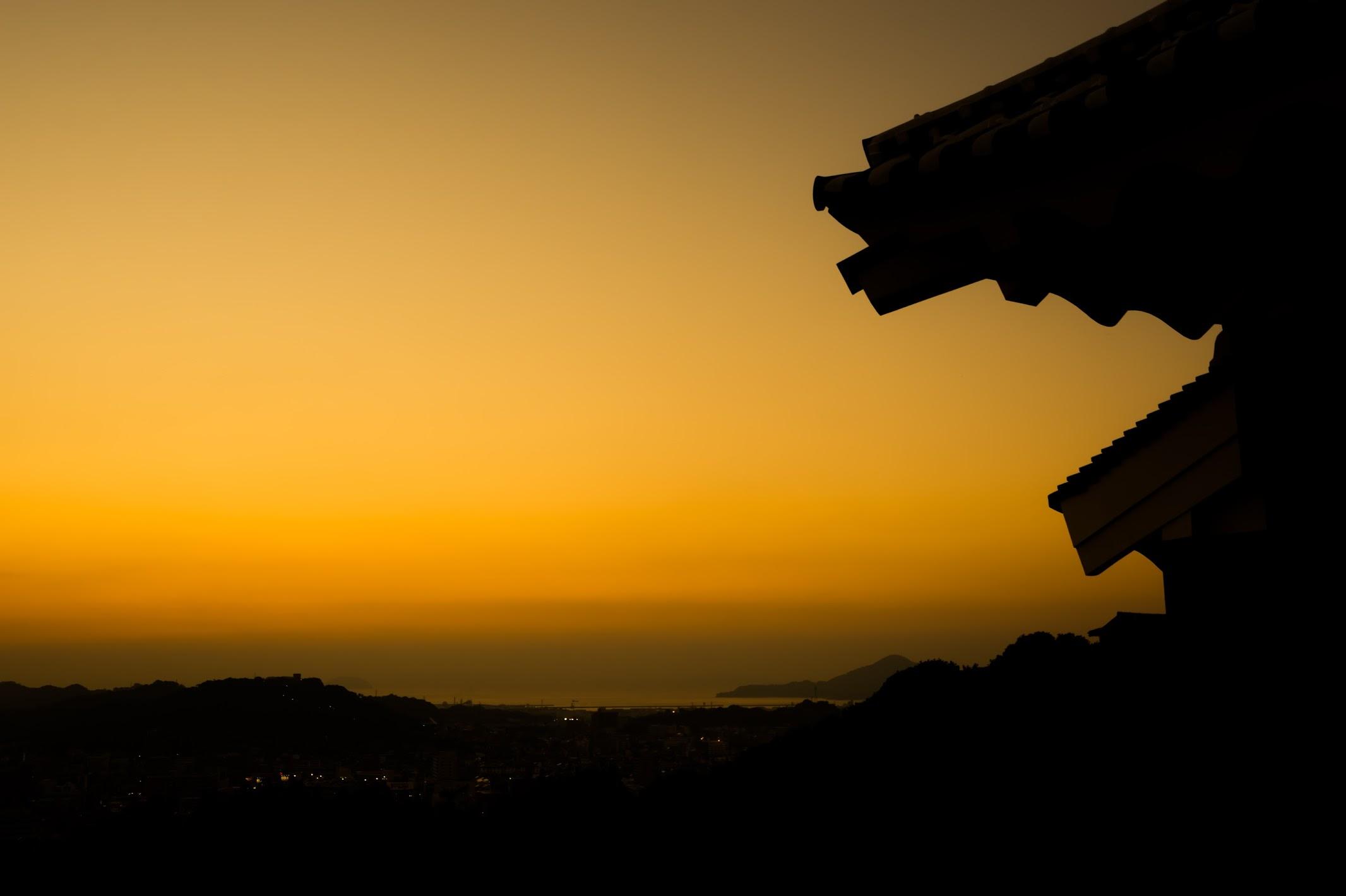 松山城 夕景1