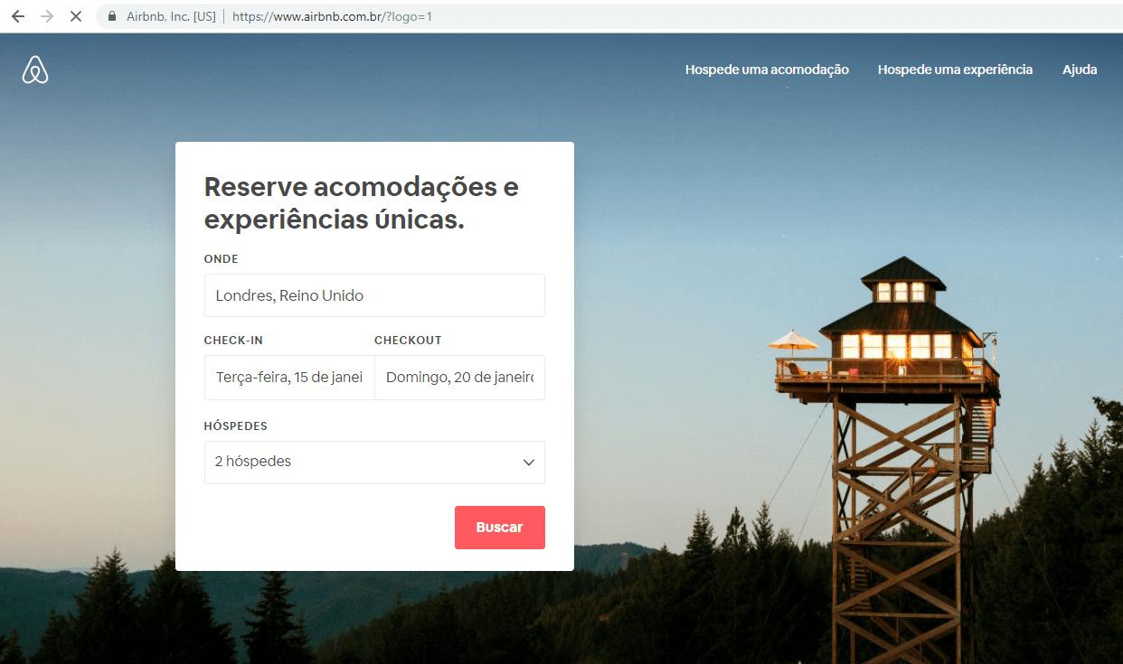 Página de cadastro no Airbnb