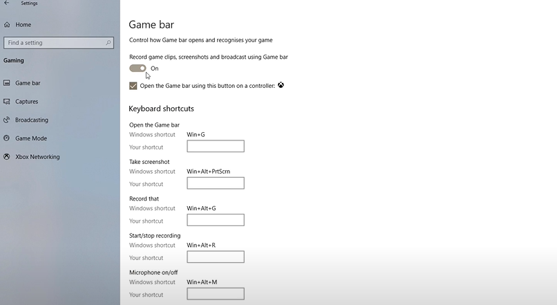 Go to Settings, followed by Gaming, and then Xbox Game Bar to set it to a self-made shortcut