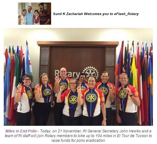 Photo: Compliments for the Initiative of Rotary International with General Secretary John Hewko on top - participating at Tour de Tucson/Arizona with a End Polio Now TEAM.