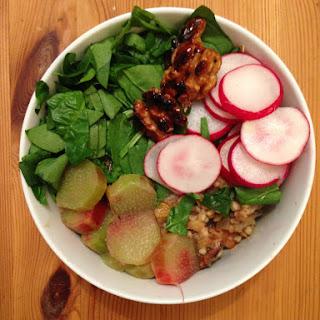 Kasha (buckwheat Risotto) Bowl With Rhubarb And Walnuts