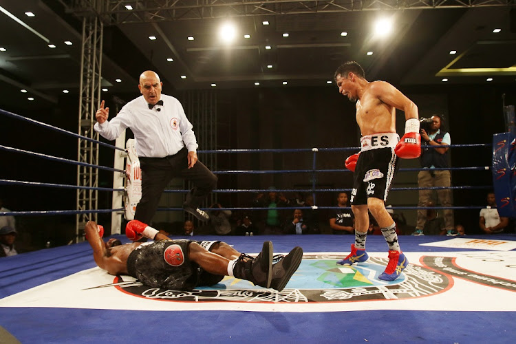 August 1, 2018: Ulises Lara knocks Nhlanhla Ngamntwini out cold during their WBA clash.