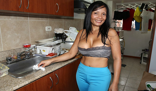 Bangbros - Latina MILF cleans and then fucked