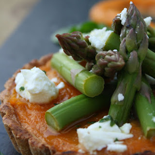 Sweet Potato Brulee Tart, Lemon Asparagus, Pea, Mint & Feta