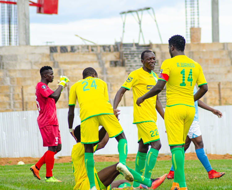 Kakamega homeboyz Captain Allan Wanga (14) with his teammates during the past match.