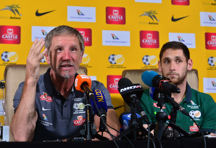 Bafana Bafana head coach Stuart Baxter sits alongside midfielder Dean Furman during the 2018 FIFA World Cup qualifier press conference at Fusion Boutique Hotel, Polokwane on 09 November 2017.