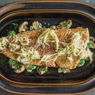 Pike-perch with Creamed Mushrooms and Horseradish Butter.
