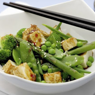 Asparagus, Broccoli and Pea Stir-fry with Tofu.