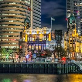 Hotel NewYork Rotterdam by Henk Smit - City,  Street & Park  Night (  )