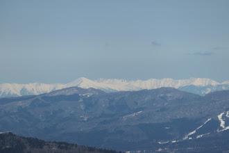 黒部五郎岳(中央左)、その右後ろに水晶岳など