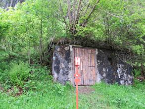 Photo: 03.Vyšná Boca. Szlak opuszcza miejscowość obok na wpół zarośniętej piwniczki.