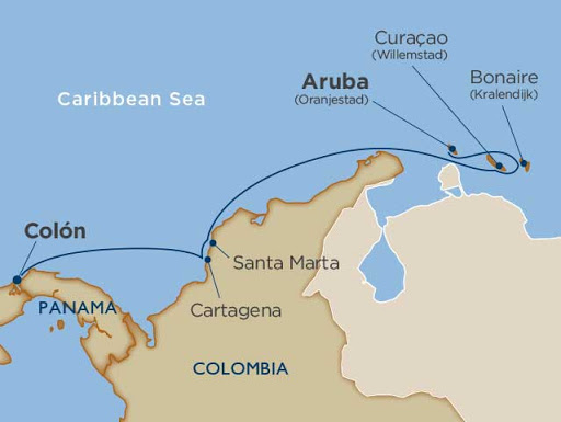 The Aruba to Panama itinerary aboard Star Pride.