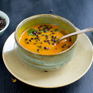 Yellow Moong Dal Soup with Crispy Black Lentils.