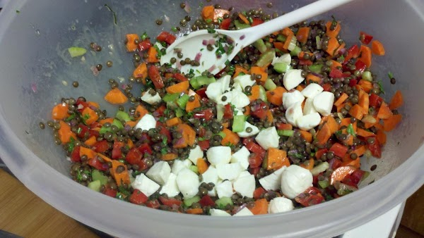 Whisk together vinegar and oil. Immediately add to lentil mixture. Add in mozzarella; season...