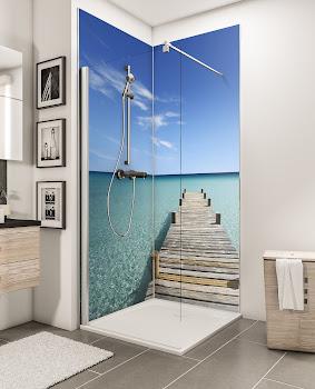 Lot de 2 panneaux muraux DecoDesign PHOTO, ponton des Maldives (en angle)
