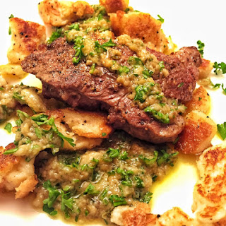 Lamb with Fried Bread and Roasted Garlic Anchovy Dressing Recipe