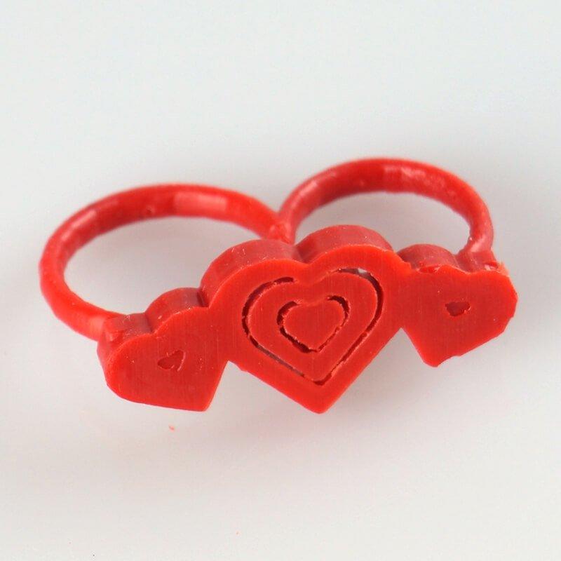 3D модель кольцо сердца для двух пальцев