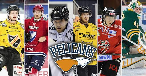 Vasemmalta: Frank Gymer, Miro-Pekka Saarelainen, Otto Nieminen, Jonatan Tanus, János Hári ja Atte Tolvanen ovat seuraavat kaksi kautta Pelicansin miehiä.