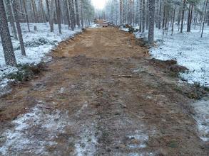 Photo: Hossa 29.11.2011. Talviten ura on hakattu ja pohjaa tasoitettu maastoon. Kuva: Lea Vainio.