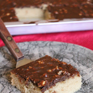 PEANUT BUTTER SHEET CAKE WITH CHOCOLATE ICING