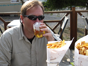 Photo: Day 14 - Giant Frites and Beers at the End of the Day!