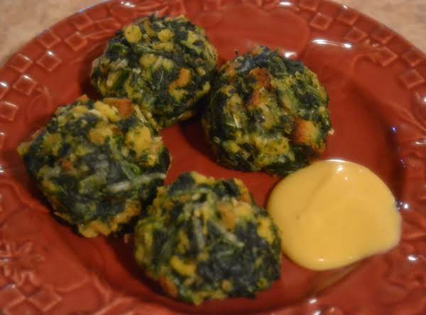 Spinach Balls With Honey Mustard Dipping Sauce