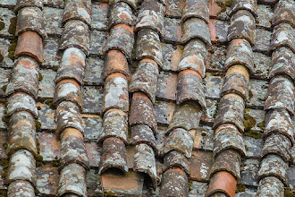 Photo: Tiles on roof in village home, shot from Villa Aureli